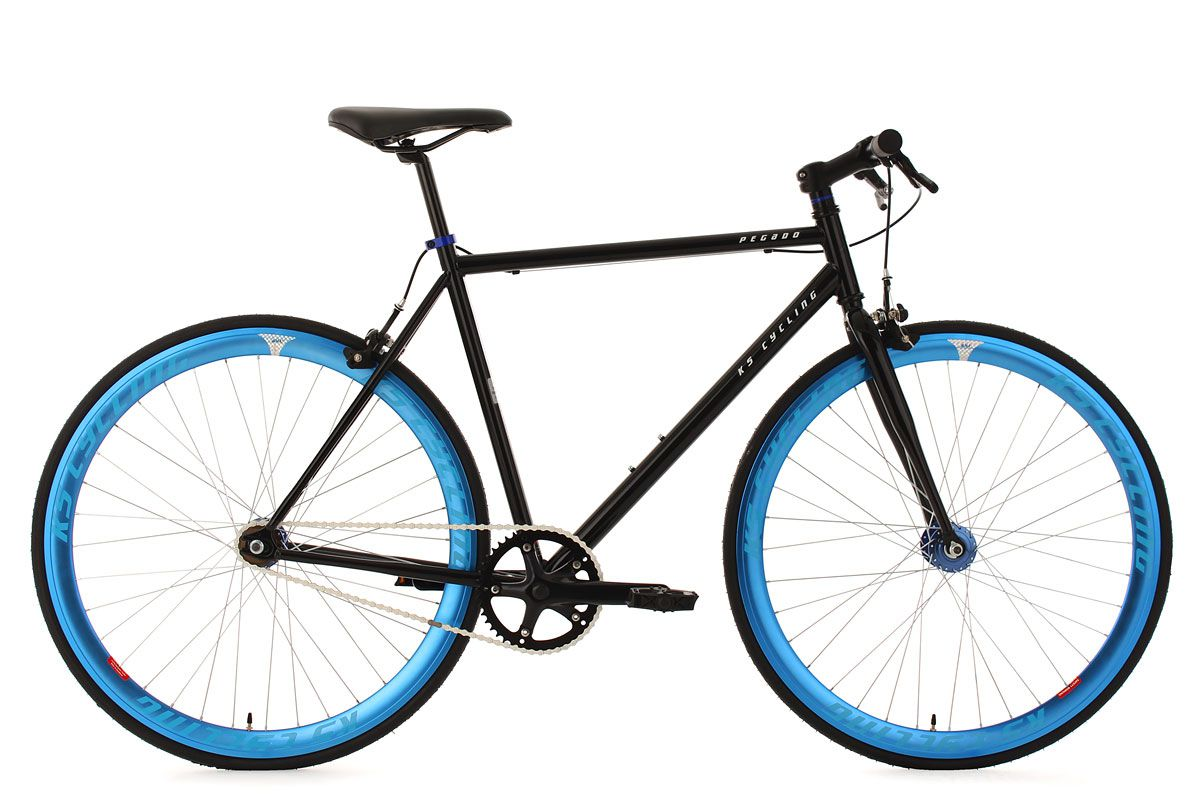 fixie fitnessbike 28 pegado schwarz blau rh 53 cm ks cycling. Black Bedroom Furniture Sets. Home Design Ideas