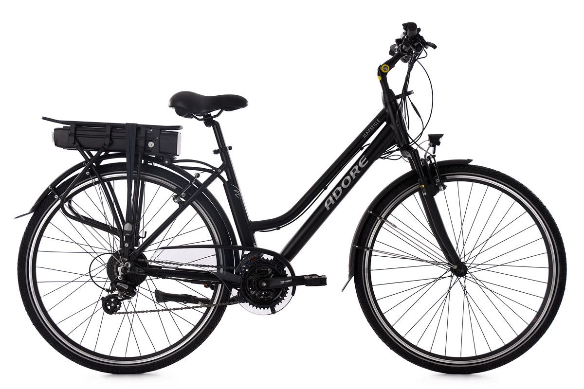 trekking e bike damen pedelec 28 39 39 marseille schwarz rh 46 cm adore. Black Bedroom Furniture Sets. Home Design Ideas