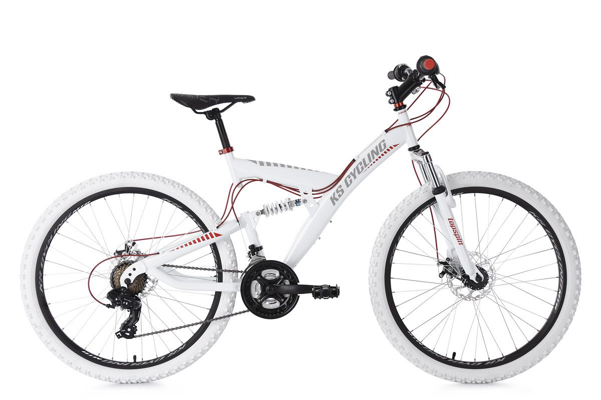 Mountainbike MTB Fully 26\'\' Topspin weiß-rot RH 46 cm KS Cycling