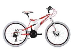 Mountainbike MTB Fully 24'' Topeka weiß-rot RH 41 cm KS Cycling