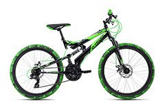 Mountainbike Fully 24'' Crusher schwarz-grün RH 41 cm KS Cycling