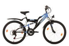 Kinderfahrrad Mountainbike Fully 24'' Zodiac schwarz-blau RH 38 cm KS Cycling