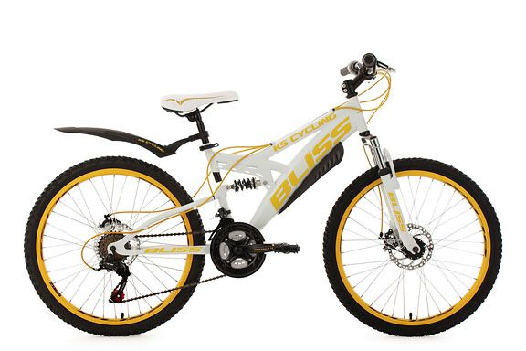 Jugendfahrrad Mountainbike Fully 24'' Bliss weiß-gelb RH 38 cm KS Cycling